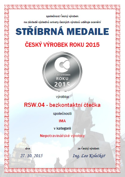Diplom - 2. místo v anketě o nejlepší Český výrobek roku 2015